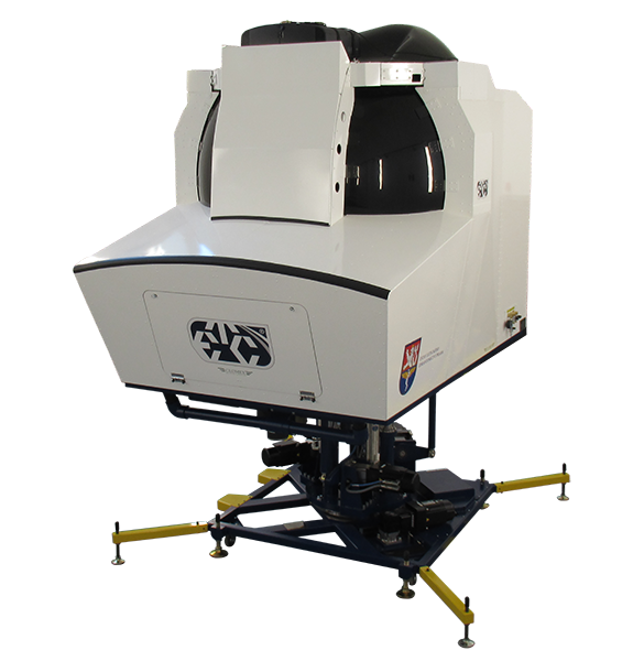 The GH-200 Spatial Disorientation Simulator features quick change reconfigurable cockpits for fixed wing and rotary wing